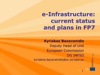 e-Infrastructure:       current status                  and plans in FP7