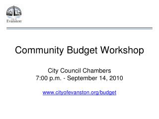 Community Budget Workshop