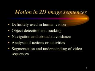 Motion in 2D image sequences