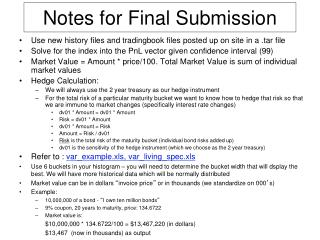 Notes for Final Submission