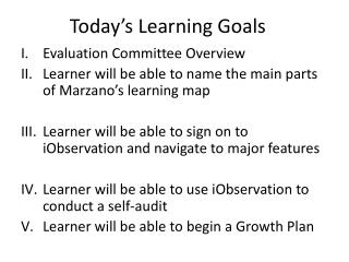 Today's Learning Goals