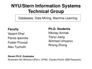 NYU/Stern Information Systems Technical Group