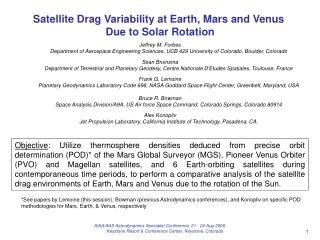 Satellite Drag Variability at Earth, Mars and Venus  Due to Solar Rotation