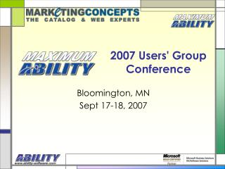 2007 Users' Group Conference