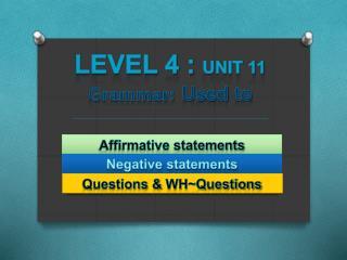 Level 4 : Unit 11