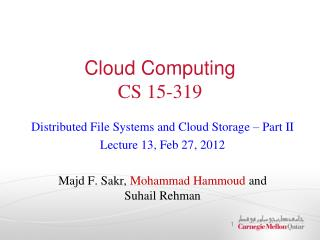 Cloud Computing CS 15-319