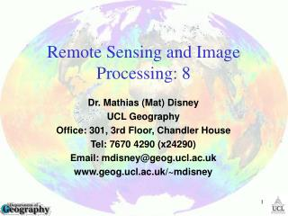 Remote Sensing and Image Processing: 8