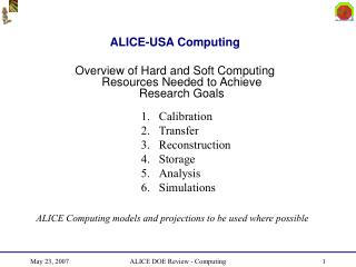 ALICE-USA Computing Overview of Hard and Soft Computing Resources Needed to Achieve Research Goals
