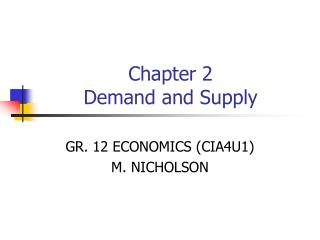Chapter 2 Demand and Supply