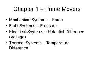Chapter 1 – Prime Movers