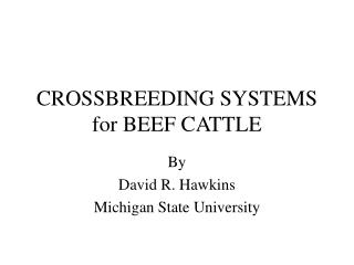 CROSSBREEDING SYSTEMS for BEEF CATTLE