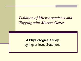 Isolation of Microorganisms and Tagging with Marker Genes
