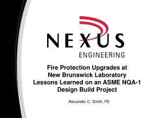Fire Protection Upgrades at  New  Brunswick Laboratory