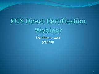 POS Direct Certification Webinar