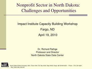 Nonprofit Sector in North Dakota:  Challenges and Opportunities