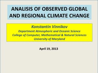 ANALISIS OF OBSERVED GLOBAL AND REGIONAL CLIMATE CHANGE
