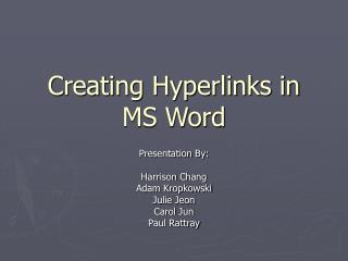 Creating Hyperlinks in MS Word