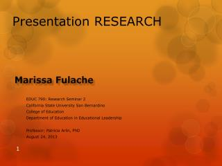 Presentation RESEARCH