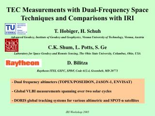 TEC Measurements with Dual-Frequency Space Techniques and Comparisons with IRI