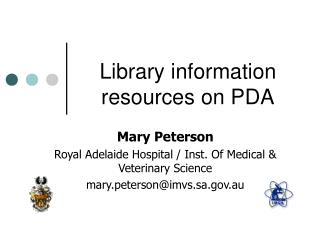 Library information resources on PDA