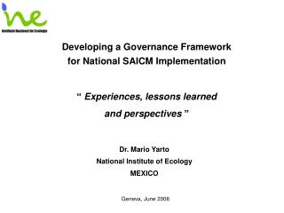 Developing a Governance Framework for National SAICM Implementation
