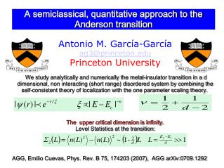 A semiclassical, quantitative approach to the Anderson transition