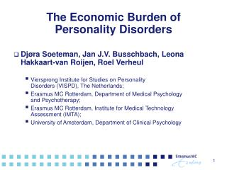 The Economic Burden of  Personality Disorders