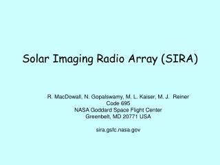 Solar Imaging Radio Array (SIRA)