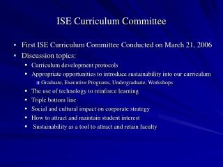 ISE Curriculum Committee
