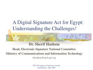 A Digital Signature Act for Egypt: Understanding the Challenges!