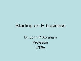 Starting an E-business