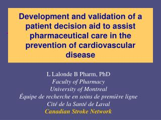 Development and validation of a patient decision aid to assist pharmaceutical care in the prevention of cardiovascular d