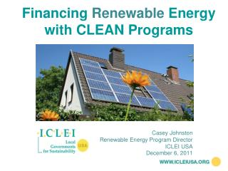 Financing  Renewable  Energy with CLEAN Programs