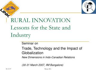 RURAL INNOVATION Lessons for the State and Industry