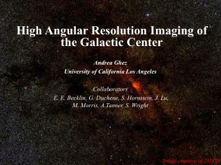 High Angular Resolution Imaging of the Galactic Center