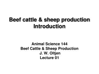 Beef cattle & sheep production Introduction