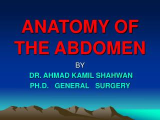 ANATOMY OF THE ABDOMEN