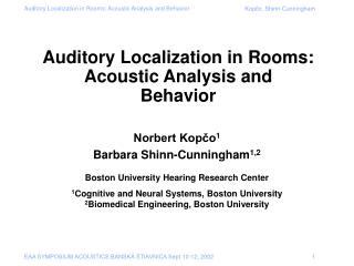 Auditory Localization in Rooms: Acoustic Analysis and  Behavior