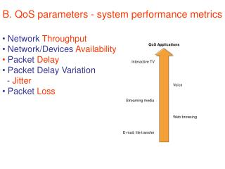 B. QoS parameters -  system performance metrics