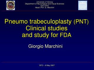 Pneumo trabeculoplasty  (PNT) Clinical studies  and study for  FDA