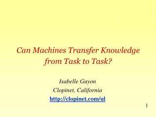 Can Machines Transfer Knowledge from Task to Task?