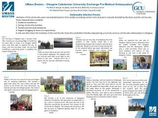 UMass Boston – Glasgow Caledonian University Exchange Pre -Medical Ambassadors