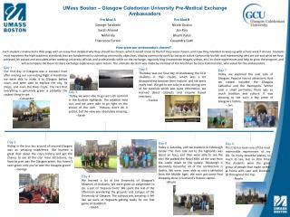 UMass Boston – Glasgow Caledonian University Pre-Medical Exchange Ambassadors