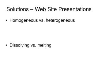 Solutions – Web Site Presentations