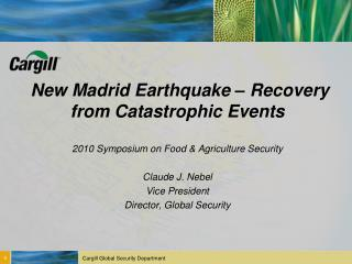 New Madrid Earthquake – Recovery from Catastrophic Events