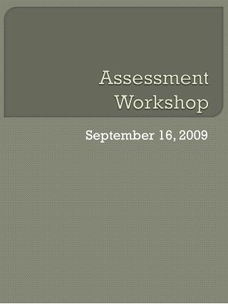 Assessment Workshop
