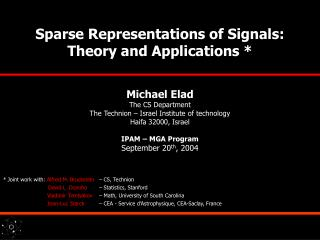 Sparse Representations of Signals:    Theory and Applications