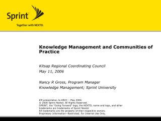 Knowledge Management and Communities of Practice