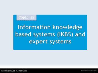 Information knowledge based systems (IKBS) and expert systems