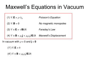 Maxwell's Equations in Vacuum